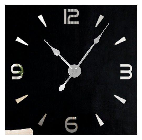 Zegar ścienny Naklejany Diy Srebrny Lustro Duży 100 Cm Diy15s2
