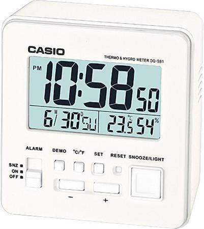 Budzik CASIO termometr, higrometr, kalendarz DQ-981 -7E