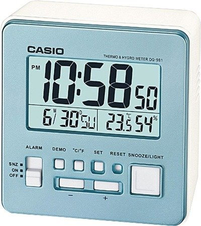 Budzik CASIO termometr, higrometr, kalendarz DQ-981 -8E