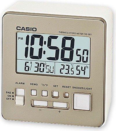 Budzik CASIO termometr, higrometr, kalendarz DQ-981 -9E