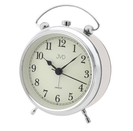 Budzik JVD BEŻOWO-SREBRNY alarm 11 cm SRP2619.3