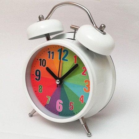 Budzik biały metalowy głośny alarm podświetlenie ATB045C