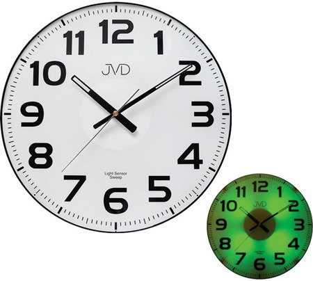 Zegar JVD ścienny CICHY SENSOR LIGHT zielony HP679