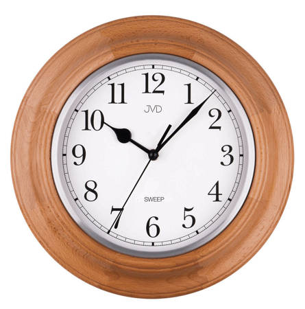 Zegar JVD ścienny CICHY drewniany dąb NS27043.68