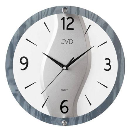 Zegar JVD ścienny DRENO-SZKŁO szary 30 cm NS19038
