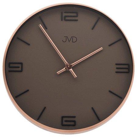 Zegar JVD ścienny nowoczesny METAL MIEDŹ HC19.1
