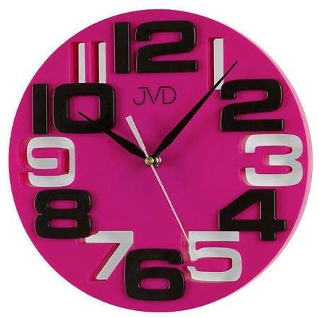 Zegar JVD ścienny różowy nowoczesny HT107.5