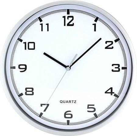 Zegar MPM ścienny 25,5 cm srebrny  nowoczesny czytelny tworzywo E01.2478.70.A