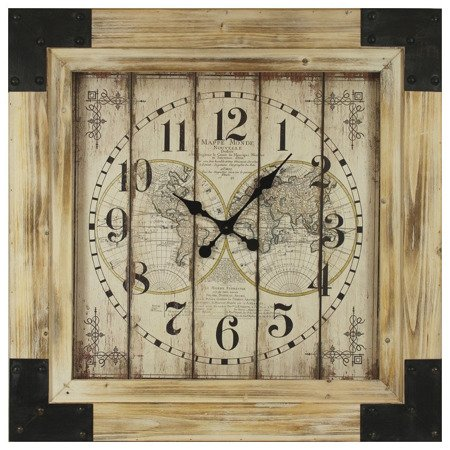 Zegar drewniany z okuciami efektowny oryginalny bardzo duży XXL 101180