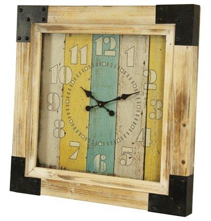 Zegar drewniany z okuciami efektowny oryginalny bardzo duży XXL 101181