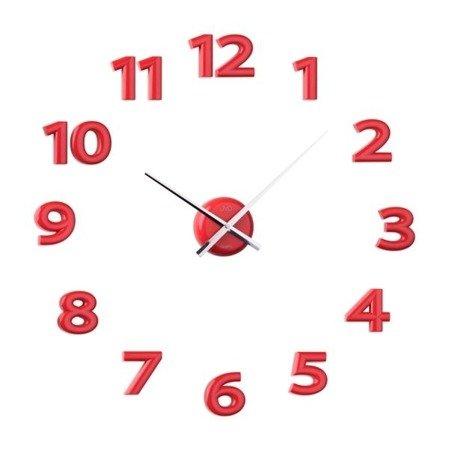 Zegar naklejany 80 cm czerwone CAŁE CYFRY HB12.3