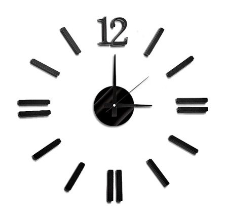 Zegar naklejany czarny CAŁE CYFRY 55 cm E01.3658