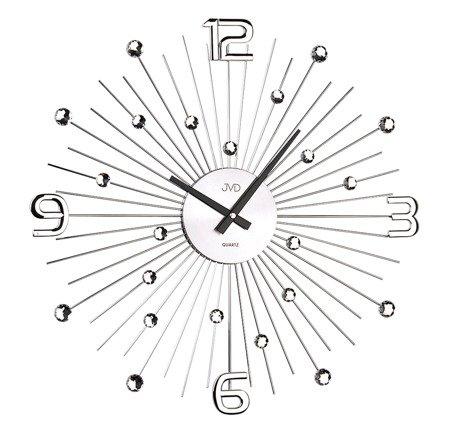 Zegar ścienny DESIGNERSKI JVD kryształy stal duży  HT074