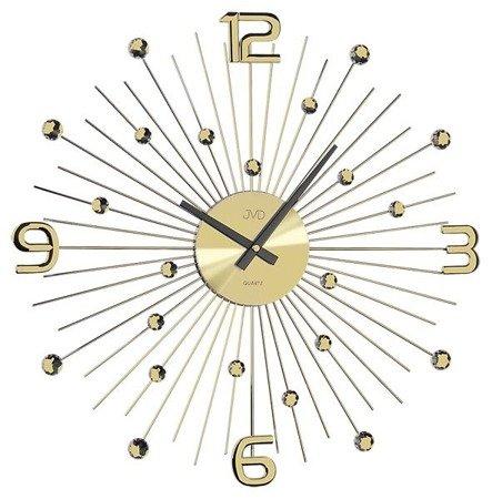 Zegar ścienny DESIGNERSKI JVD kryształy stal złoty duży  HT074.1
