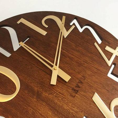 Zegar ścienny DREWNIANY DUŻY 40 cm brązowy LCT1011