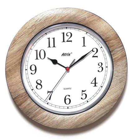 Zegar ścienny DREWNOPODOBNY brązowy cichy T1217A