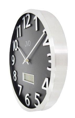 Zegar ścienny JVD aluminium termometr datownik HO047.1