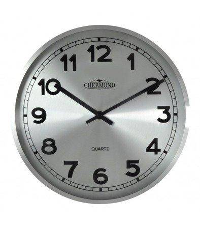 Zegar ścienny aluminium elegancki  średni CHERMOND 9737 CS Silver