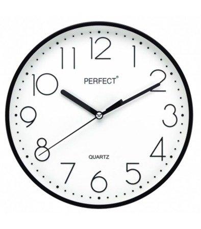 Zegar ścienny czarny nowoczesny czytelny tworzywo FX-5814 Black
