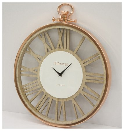 Zegar ścienny drewniany z metalową obudową loft duży różowe złoto 103666