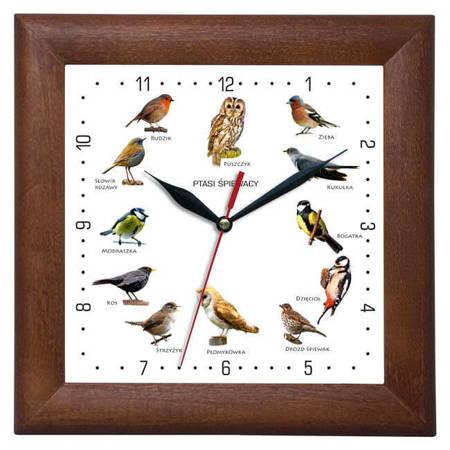 Zegar ścienny głosy ptaków DREWNO ciemny DĄB