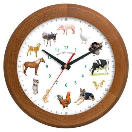 Zegar ścienny głosy zwierząt DREWNO ATW301ZW1 JD