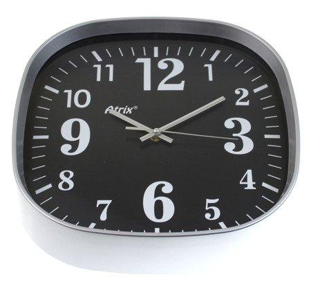 Zegar ścienny kwadratowy srebrny 30 cm ATE2021C BK
