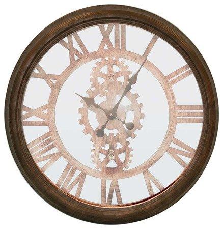 Zegar ścienny metalowy loft retro duży brązowy 82476