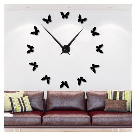 Zegar ścienny naklejany DIY czarny MOTYLE duży 110 cm DIY13B1