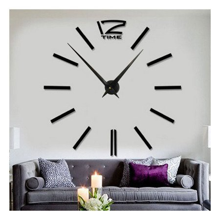 Zegar ścienny naklejany DIY czarny duży 110 cm DIY01B3