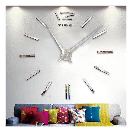 Zegar ścienny naklejany DIY srebrny lustro 01S5