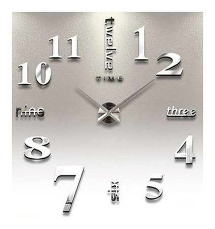 Zegar ścienny naklejany DIY srebrny lustro duży 100 cm DIY02S4