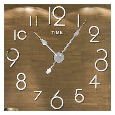 Zegar ścienny naklejany DIY srebrny lustro duży 100 cm DIY16S2