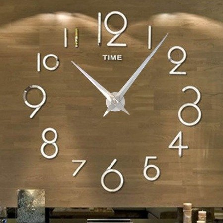 Zegar ścienny naklejany DIY srebrny lustro duży 120 cm DIY16S1