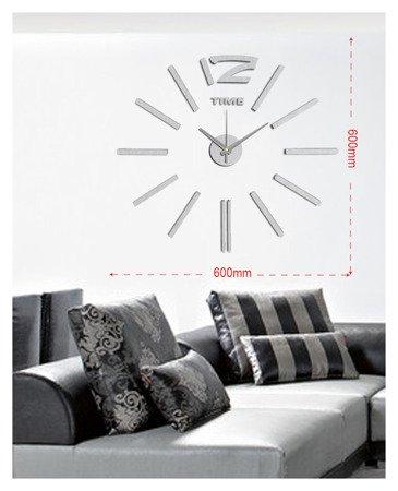 Zegar ścienny naklejany SREBRNY 60 cm E01.3659