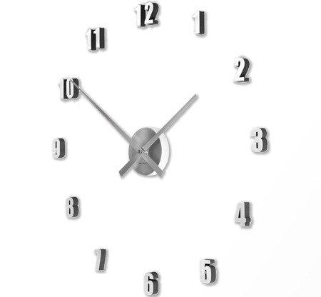 Zegar ścienny naklejany SREBRNY 60 cm HS-138SL