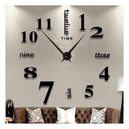 Zegar ścienny naklejany czarny bardzo DUŻY 110 cm DIY02B3