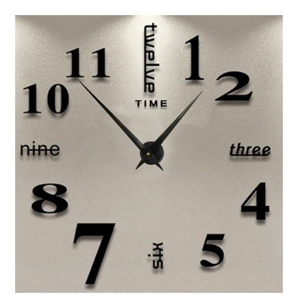 Zegar ścienny naklejany czarny bardzo DUŻY 120 cm DIY02B1