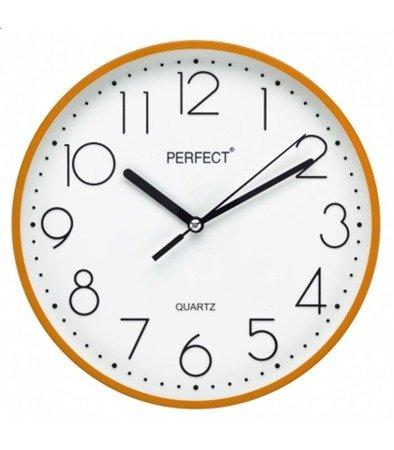 Zegar ścienny pomarańczowy nowoczesny czytelny tworzywo FX-5814 Orange