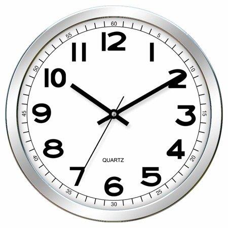 Zegar ścienny srebrny nowoczesny czytelny E01.2980.7000