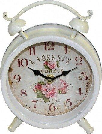 Zegar stojący kominkowy METALOWY biały retro 93351